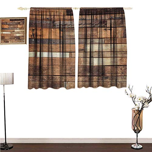 homehot Curtian Wooden,Rustic Floor Planks Print Grungy Look Farm House Country Style Walnut Oak Grain Image,Brown Blackout Drapes for Bedroom W63 x G45