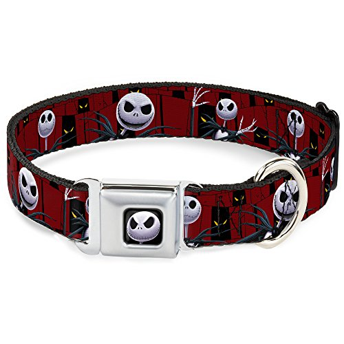 Buckle-Down Seatbelt Buckle Dog Collar - Nightmare Before Christmas 3-Jack Poses/Peeping Eyes Burgundy/Black/Yellow - 1.5