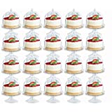 PartyPom Heavy Weight Clear Plastic Mini Cake Stand with Cover, 20 Count