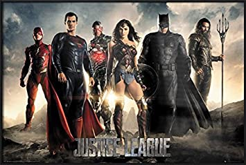 Justice League – Framed Movie Poster Print The Heroes – Superman, Batman, Wonder Woman. Size 36 inches x 24 inches