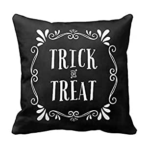 UOOPOO Trick or Treat Halloween Throw Pillow Case Square 18 x 18 Inches Print on One Side