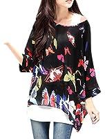 Allegra K Women Geometric Prints Sheer Oversize Batwing Tops Blouse Plus Size