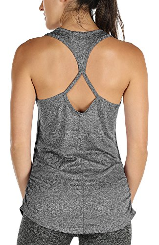 6aee026982852 icyzone Yoga Tops Workouts Clothes Activewear Built in Bra Tank Tops ...