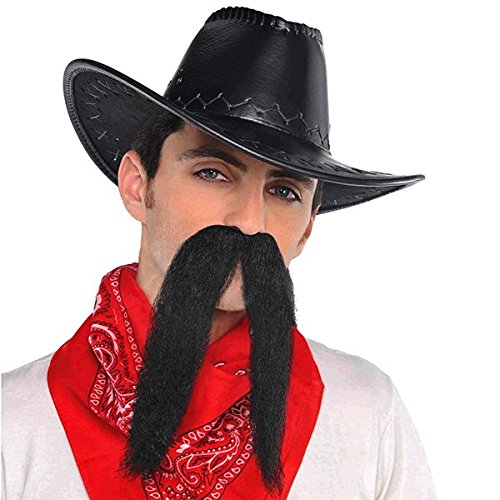 Wacky Facial Hair Black Cowboy Moustache Costume Accessory, Self Adhesive, 1 (Easy 80's Costumes Men)