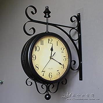 HUANGYAHUI Despertador Reloj De Pared Doble Cara Salón Grandes Relojes De Hierro Paredes Giratorias, Azul Panel Acrílico: Amazon.es: Hogar