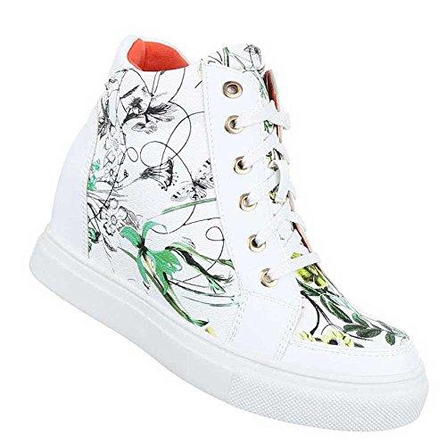 Damen Sneakers Schuhe Freizeitschuhe Keil Wedges Schwarz Weiß Modell NR.1 Weiß