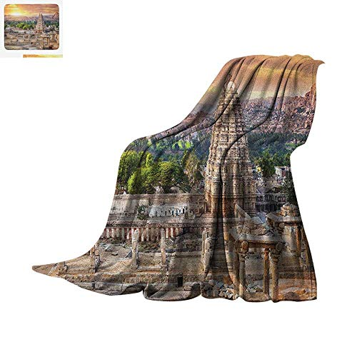 Asian Warm Microfiber All Season Blanket Viruphaksha Temple View Up from The Hills Sunset Above City Buildings Rock Tower Summer Quilt Comforter 60