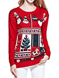 Women Christmas Sweater, V28 Ugly Ladies Girl Junior 3D Bowknot Reindeer Sweater