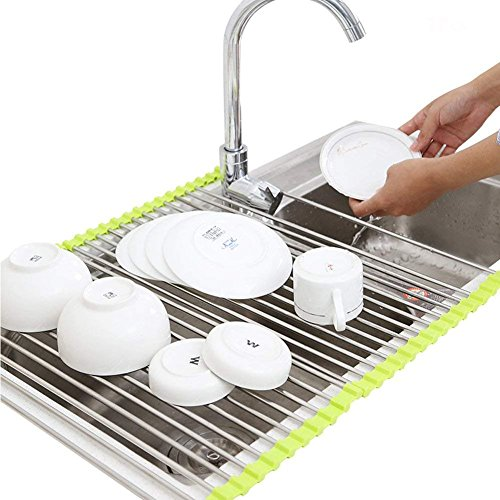 Exttlliy Silver&Green Multi-purpose Roll Up Dish Drying Rack