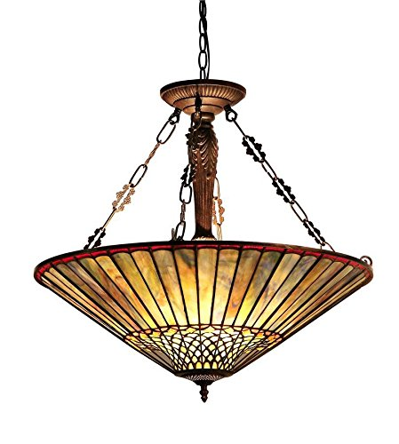 Chloe Lighting CH35002BG25-UH3 Grace Tiffany-Style 3 Light Inverted Ceiling Pendant with Fixture, 23.87 x 24.4 x 24.4