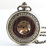 TODDCAHALAN Vintage Antiqued Stainless Steel Case Skeleton Mechanical Pocket Watch with Chain F061