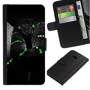 """HTC One M8 , la tarjeta de Crédito Slots PU Funda de cuero Monedero caso cubierta de piel ("""" Black Mamba Snake Green Reptile Venom"""")"""