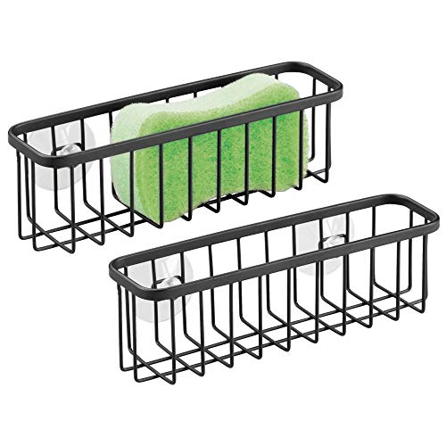 mDesign Kitchen Sink Suction Storage Basket for Sponges, Soap, Scrub Brushes,Scrubbies - Pack of 2, XL, Matte Black