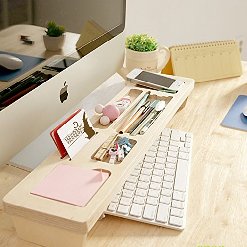 Birch Stand Shelf,Woodows [Crea Lift Station]Mutiboard Storange Desktop Organizer for note Iphone, keyboard,Solid Birch Wood Eco-friendly Hold-Beta