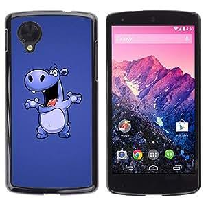 TopCaseStore / la caja del caucho duro de la cubierta de protección de la piel - Hippo Drawing Cartoon Big Animal Dance - LG Google Nexus 5 D820 D821