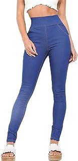 Pantalones Pitillo Elásticos De Cintura Alta De Elásticos Ropa Pantalones La Cintura con Espalda Color Sólido con Bolsillos Jeans Slim Fit None