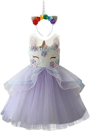 Unicorn Headband Baby Girls Birthday Party Dress Set Tutu Tulle Princess Outfit