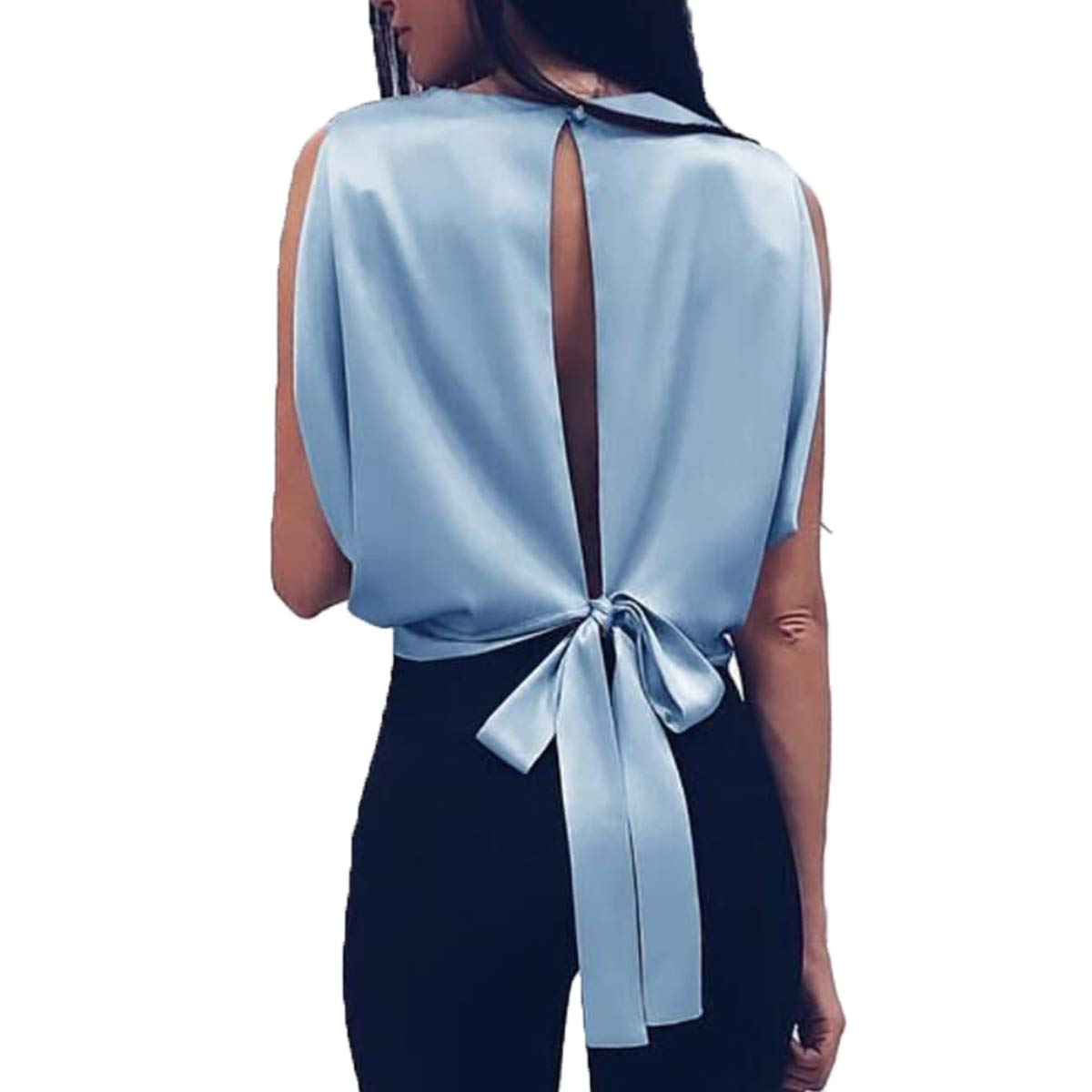 Fashion Womens Sleeveless Round Neck Solid Color Vest Bow Backless Top Vest T-Shirt