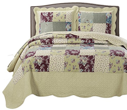TANIA Queen Size, Over-Sized Quilt 3pc set 92x96