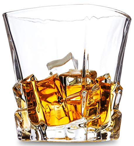 - Iceberg Rock Style Whiskey Glass 10 Ounce - Thick Weighted Bottom - Square Crystal Tasting Tumblers For Scotch Or Bourbon - Luxury Gift Box For Wedding, Set Of 4