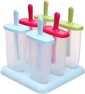 6 Pcs Ice Pop Mould Set,Amadear New Detachable DIY Frozen Ice Cream Pop Molds Ice Lolly Makers with Base (Blue+Green+Pink)