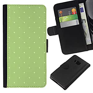 KingStore / Leather Etui en cuir / HTC One M9 / Motif vert mousse blanche