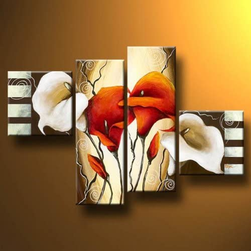 Wieco Art 4-Piece Scents of Callas Stretched and Framed Hand-Painted Modern Oil Paintings on Canvas Wall Art Set
