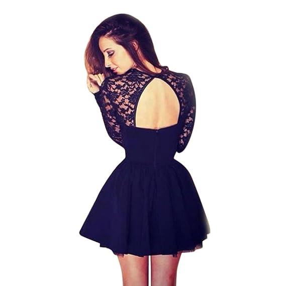K-youth Vestidos de Fiesta, Moda Vestido Corto de Mujer sin Espalda Cóctel Vestido de Fiesta Mangas Largas Encaje Vestido de Noche (Negro, XL): Amazon.es: ...