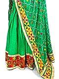PinkPhulkari California Indian Punjabi Green Zari Phulkari Dupatta for Women/Border/Shawl/Wrap