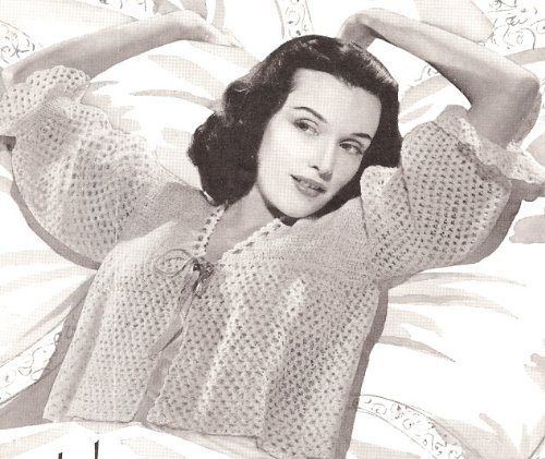 Vintage Crochet PATTERN to make - Bed Jacket Lace Sweater Top. NOT a finished item, this is a pattern and/or instructions to make the item only. ()