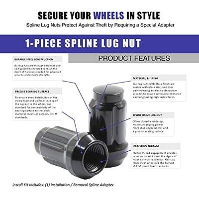 Wheel Accessories Parts Set of 20 1.38in Long Car Small Diameter Lug Nut Closed End Bulge Acorn 6 Spline with Key (M12x1.5, Black): Automotive