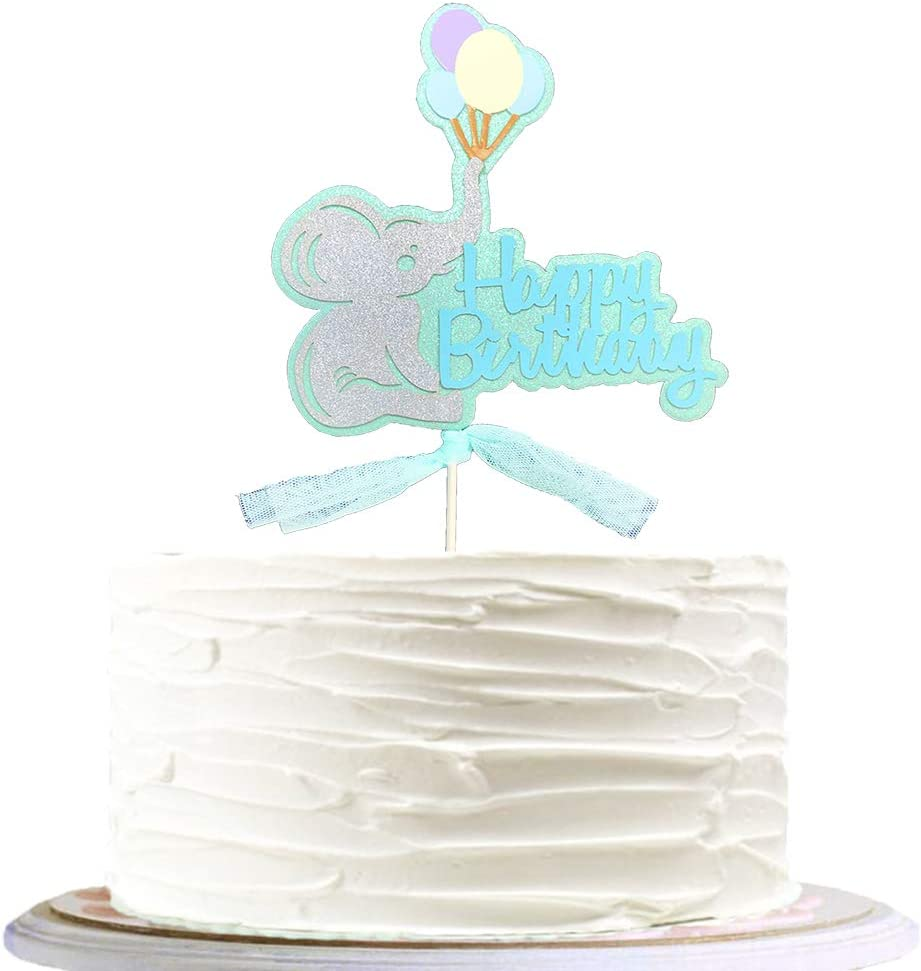 Happy Birthday Cake Elephants Topper Birthday Candle Baby Shower Party Supplies