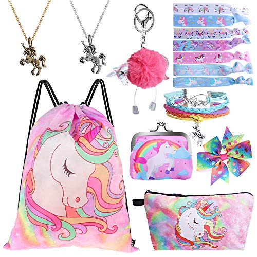 (Standie 9PCS Drawstring Backpack for Unicorn Gift for Girls Include Makeup Bag Bracelet Necklace Set Hair Ties for Unicorn Party Favors)