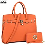 MMK Collection Fall&Winter Style Most Popular Color~ Satchel Padlock handbag~Work Briefcase Handbag~Perfect Christmas Gift~Beautiful Tote bag for all season (NEW-03-1006-W-MT(OR))