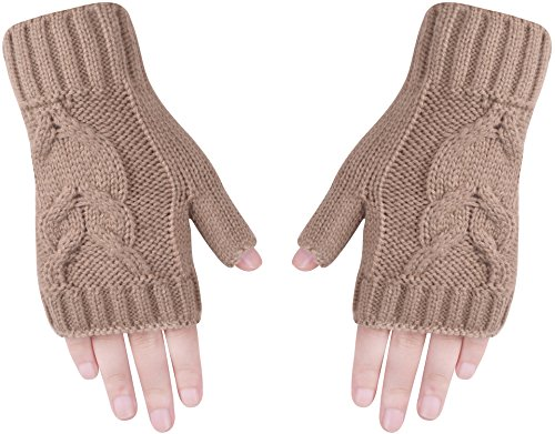 s Knit Hand Warmer Knitted Fingerless Gloves Men Women Brown (Knitted Wrist Warmers)