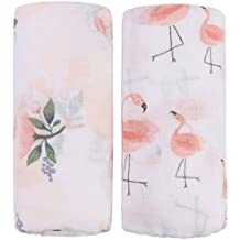 Bamboo Muslin Swaddle Blankets - 2 Pack Floral & Flamingo Print Baby Swaddle Wrap for girl shower gift by Little Jump (Floral & Flamingo)
