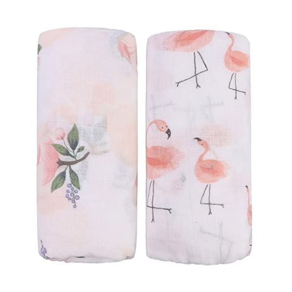 "Bamboo Muslin Swaddle Blankets – 2 Pack""Floral & Flamingo Print"" Baby Swaddle Wrap for Girl Shower Gift by Little Jump (Floral & Flamingo)"
