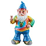 Collections Flower Children Hippie Garden Gnome Statue Décor Resin Figurines, Peace