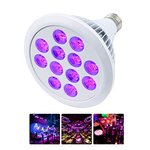(Black Light Bulb 24W 12 LED UV Bar E26 E27 PAR38 for Home Party Stage Neon Glow Blacklight Party Birthday Stage Body Paint Fluorescent Poster Wedding Lighting)