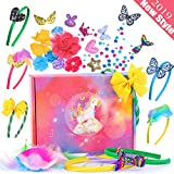 RUNJNAN Headbands for Girls, 70 Pcs DIY Arts Crafts Kits for Girls Make Headbands, Hair Accessories Include Flowers Rhinestones Roses Butterfly and More