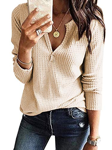 Famulily Women V-Neck Long Sleeve Tshirt Casual Waffle Thermal Top Beige ()