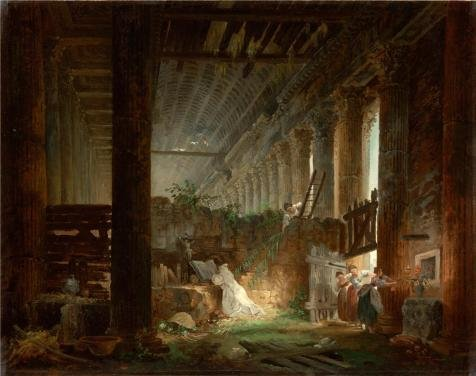[Oil Painting 'A Hermit Praying In The Ruins Of A Roman Temple, About 1760 By Hubert Robert' Printing On Perfect Effect Canvas , 18x23 Inch / 46x58 Cm ,the Best Gym Decor And Home Artwork And Gifts Is This High Quality Art Decorative Canvas] (Duckbill Costume Pattern)