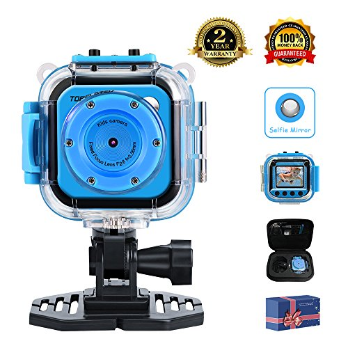 "TOPELOTEK Kids Digital Action Camera Waterproof Mini Camera 1.77""LCD Screen DV Creative Toy for Children's Day Birthday Gift (Blue)"