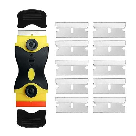 Gebildet Rascador de doble cabeza para vidrio y Vitrocerámicas, Placas de Inducción, con 10 piezas Acero Inoxidable Cuchillas