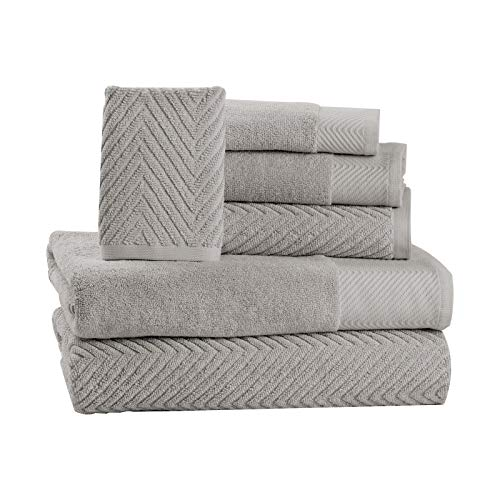 6 Piece Premium Cotton Bath Towels Set - 2 Bath Towels, 2 Hand Towels, 2 Washcloths Machine Washable Super Absorbent Hotel Spa Quality Luxury Towel Gift Sets Chevron Towel Set - Platinum (Clearance Rugs Barn Pottery Bath)
