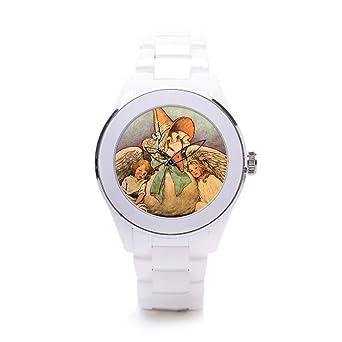hiyane correa de cerámica relojes Vintage madre ganso Nursery Rhymes - blanco/plateado: Amazon.es: Relojes