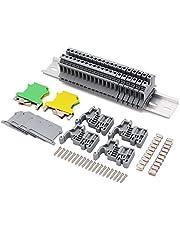 """DIN Rail UK-2.5N Terminal Blocks Kit,20Pcs 12 AWG Terminal Blocks, 2Pcs Ground Blocks, 2Pcs Terminal Fixed Bridge Jumpers, 4Pcs End Brackets, 4Pcs UK-2.5BG End Covers, 1Pcs 8"""" Aluminum Rail"""