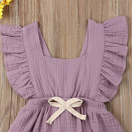 Infant Baby Girl Bodysuit Sleeveless Ruffles Romper Sunsuit Outfit Princess Clothes (Purple, 12-18 Months) by C&M Wodro (Image #2)