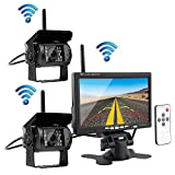 """Podofo Wireless Vehicle 2 x Backup Cameras Parking Assistance System Ir Night Vision Waterproof Rear View Camera + 7"""" Monitor for RV Truck Trailer Bus"""