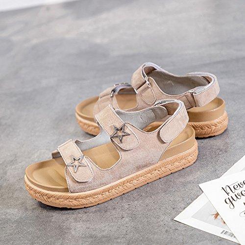 Estudiante Zapatos Nueva Plataforma Moda Caqui Mujer Universal Vintage QQWWEERRTT Verano Sandalias 7Ex0qnnPO